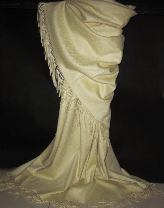 披毯加厚水波纹 230cm 超长 围巾披肩 白山羊绒 CASHMERE 罕见雾霾蓝