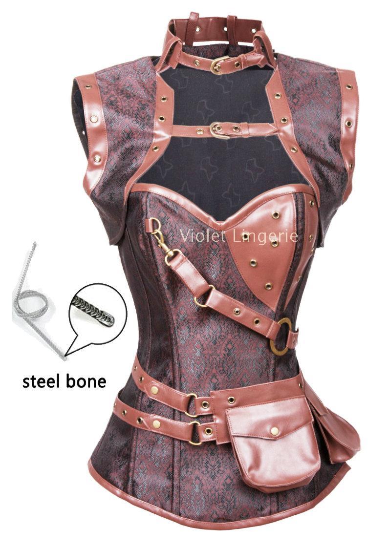 高档复古带披肩塑身衣套装 钢骨蒸汽朋克风束身衣 收腹马甲 m2081
