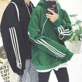韩版复古原宿bf风加厚加绒三条杠卫衣连帽男女情侣装新款外套潮流
