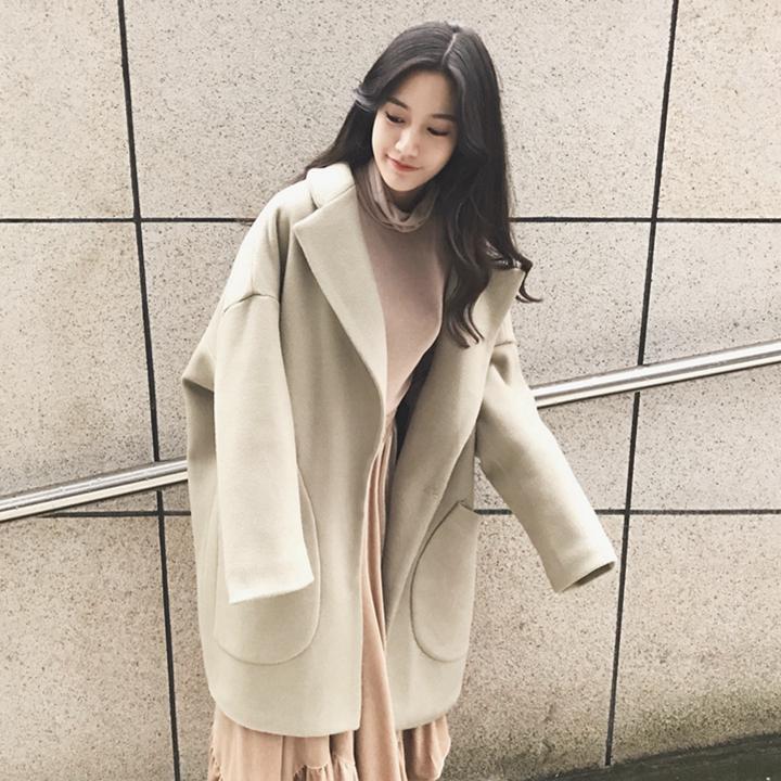 温暖色轮廓型加厚呢子大衣女秋冬新款中长款韩国百搭宽松毛呢外套
