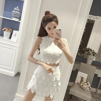 夏装新款韩范气质蕾丝钩花短款无袖上衣高腰立体蕾丝半身裙套装女