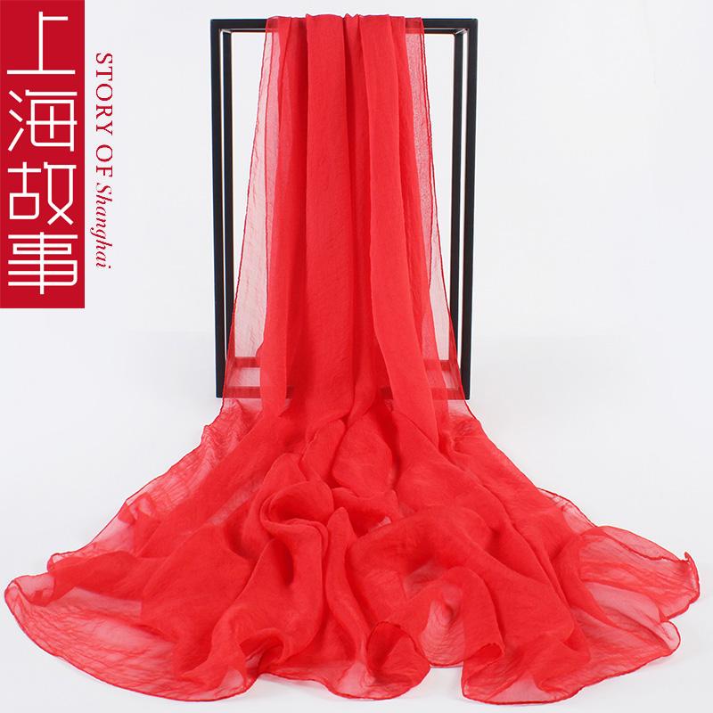 百搭雪纺薄款披肩纱巾空调纯色沙滩防晒围巾丝巾夏季长款超大