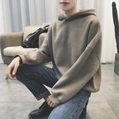 港仔冬装韩版连帽卫衣男蝙蝠衫学生加绒加厚宽松套头潮简约小外套