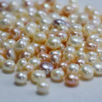 全孔扁圆包子圆 天然淡水珍珠强