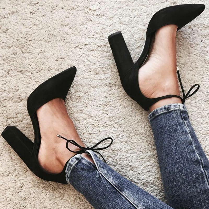 气质镂空单鞋尖头女鞋浅口高系带黑色