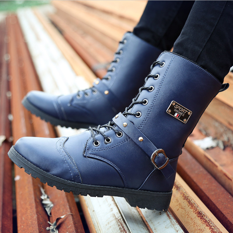 雅煊冬季潮流男士加绒保暖马丁短靴子英伦百搭高帮沙漠鞋男军皮鞋