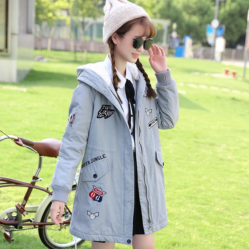 甜美少女棉衣青少年学生冬装外套学院风中长款加厚保暖连帽棉衣潮