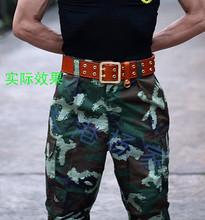 正品07腰带户外腰带多功能战术牛皮特种兵双排孔双扣铜头特战腰带