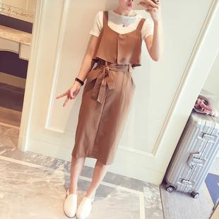 背带裙2017夏季新款韩版时尚t恤两件套半身裙长款连衣裙女套装裙