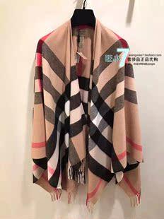 意大利正品BURBERRY博柏利女士经典格纹羊绒裹式披肩流苏围巾现货