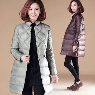衣品乐原创大码 立领中长款亮面棉衣棉服加厚外套女装冬装D632
