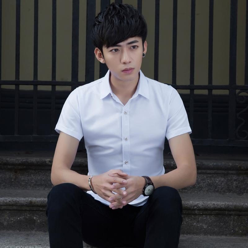 修身短袖衬衣夏季纯色青少年学生白色男士衬衫男装休闲