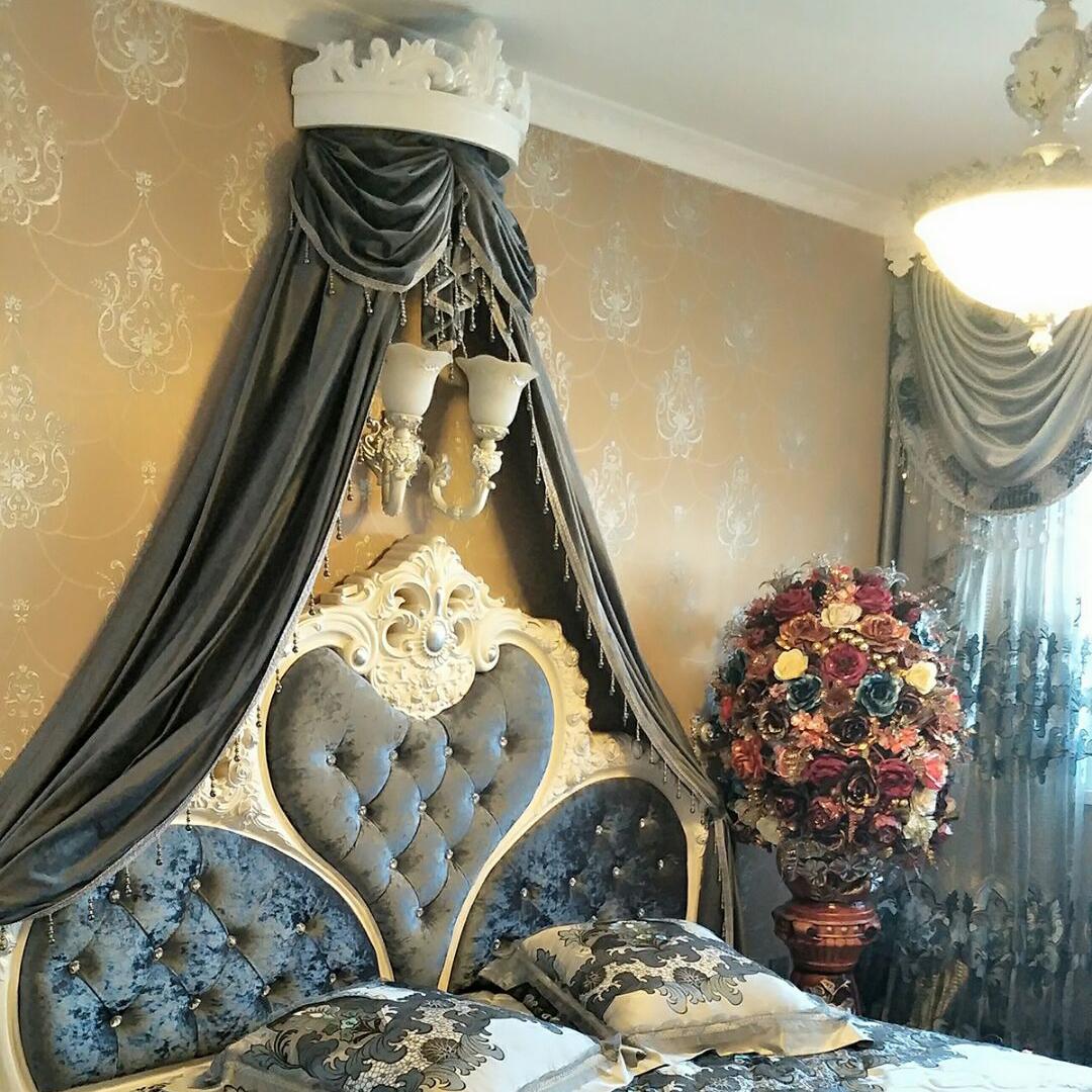 高档皇冠床幔床头纱帘公主房韩式蚊帐吊顶床头帘装饰帘欧式床美式