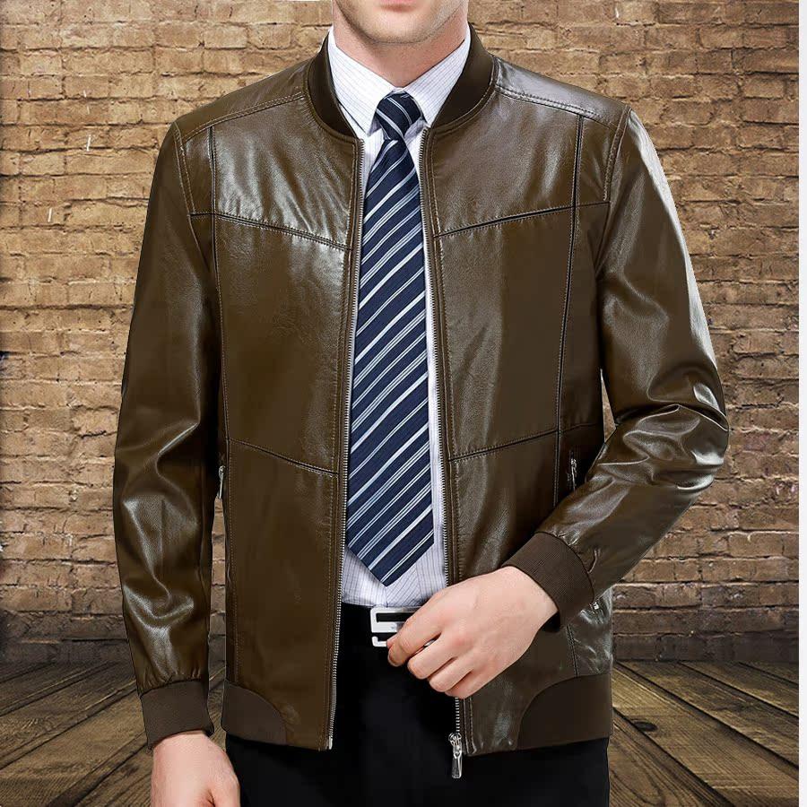 男士真皮皮衣海宁进口绵羊皮时尚休闲棒球领中青年真皮加绒夹克潮