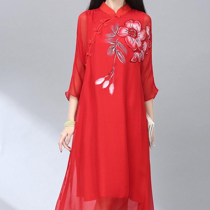 民族风女装2016春新品手绘花朵立领盘扣宽松旗袍中国风真丝连衣裙