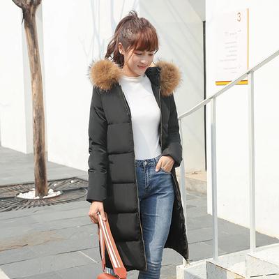 羽绒服女中长款2017冬装新款韩版女装加厚修身过膝貉子毛领潮外套