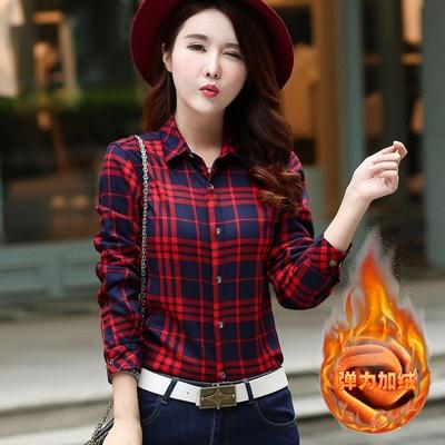 秋冬新款韩版修身显瘦女士加绒衬衫加厚格子保暖衬衣女上衣加大码