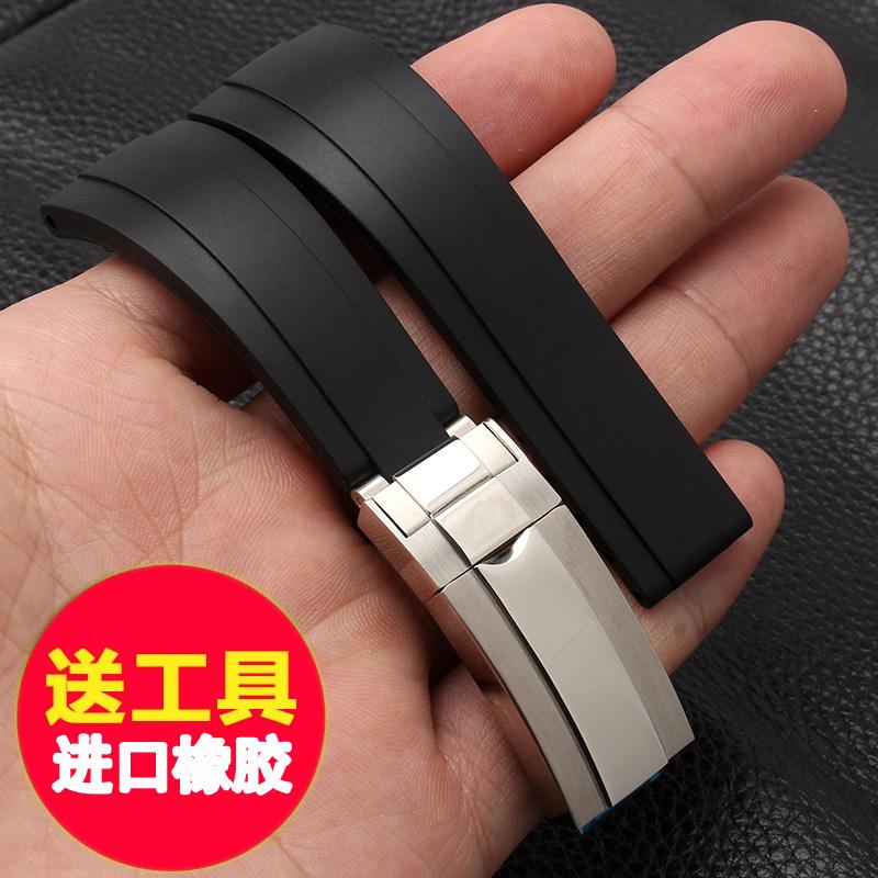 代用劳力士橡胶表带男士手表带游艇名仕型116655黑色硅胶表带20mm