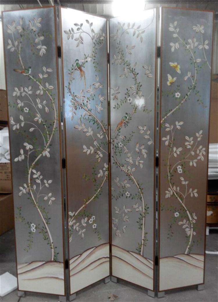 欧式新古典手绘花鸟银箔屏风隔断时尚客厅间隔折叠式