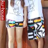 短裤男沙滩裤男女速干宽松大码五分裤衩夏运动中裤情侣沙滩裤套装