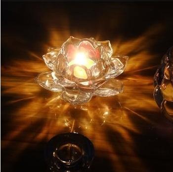 情人节礼物莲花水晶玻璃烛台饰品摆件欧式浪漫装饰台