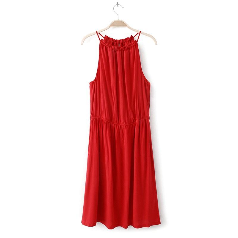 2013夏季新品 晚宴裙 性感挂脖背心连衣裙子 红色 藏青