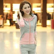 春秋季时尚韩版女士运动套装女款开衫纯棉运动服学生休闲修身卫衣