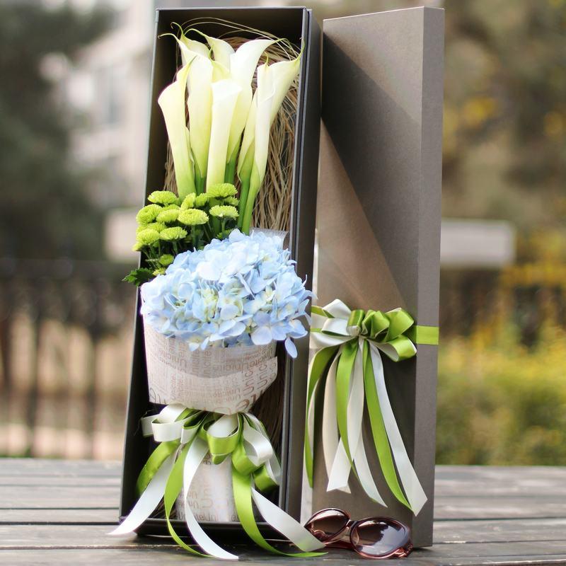 鲜花礼盒进口花马蹄莲花束花盒北京同城速递上海深圳广州杭州