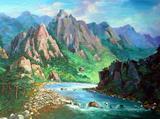 礼品收藏特价字画装框56cm鲁美原创写实风景油画客厅画45春天