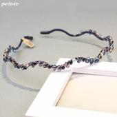 韩国代购气质发箍复古手工水晶水钻头箍镶钻波浪细发卡头饰发饰