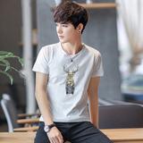 夏季男士T恤短袖圆领体恤修身半袖男装韩版打底衫夏天潮流上衣服