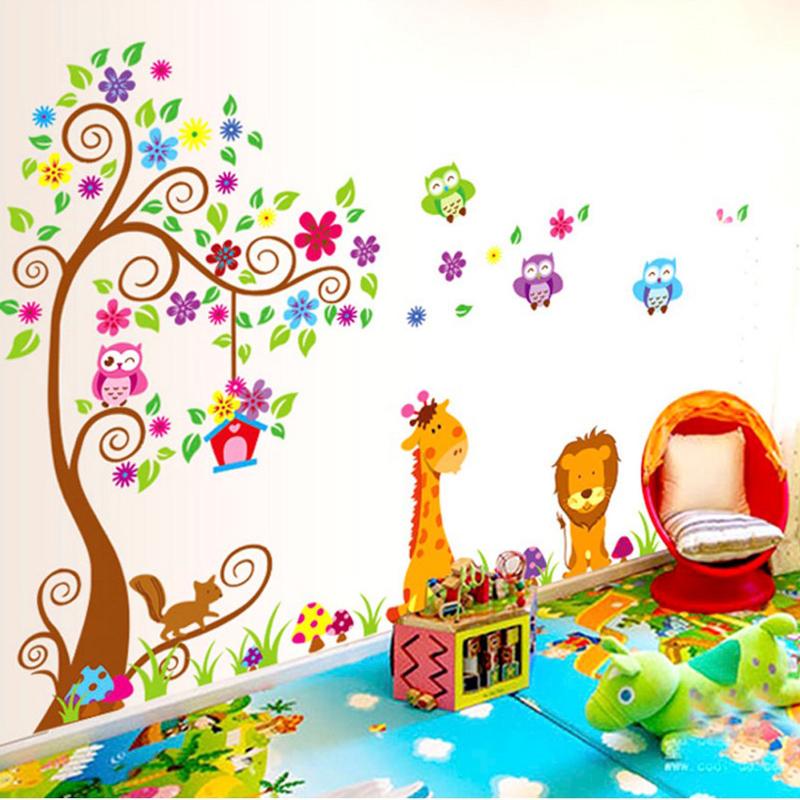 可移除自粘贴画动物墙壁贴纸儿童房幼儿园教室布置装饰墙纸墙贴