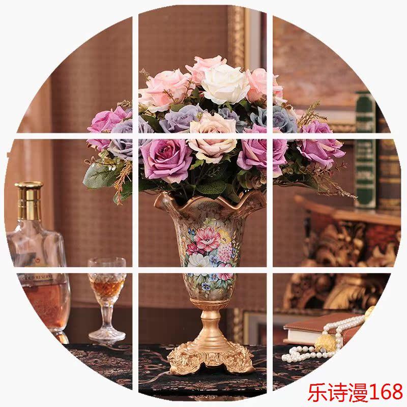 高档欧式复古树脂餐桌小花瓶套装创意客厅家居装饰品仿真插花摆件