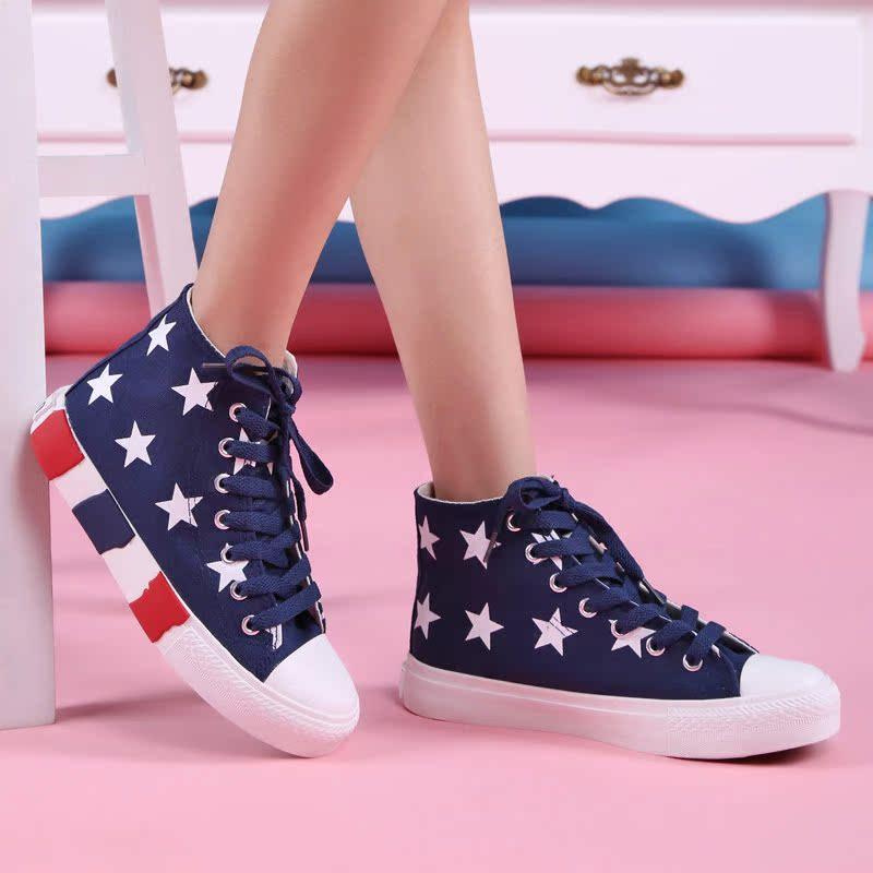 春季新款高帮系带女帆布鞋学生鞋少女鞋平底时尚休闲鞋学生鞋潮鞋