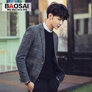 2016新款秋季男士休闲西装修身韩版青年英伦格子小西服外套男装潮
