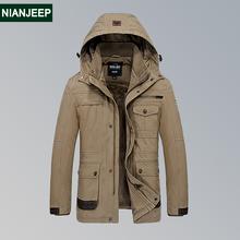 加绒休闲棉袄保暖宽松多袋工装 加厚外套 吉普盾冬季棉衣男中长款