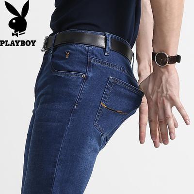 弹力花花公子牛仔裤男直筒修身男裤夏季薄款男士宽松男装休闲裤子