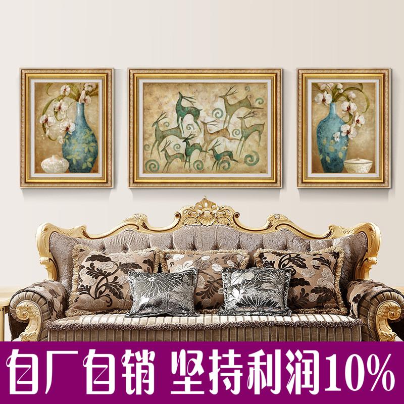 欧式装饰画客厅沙发三联墙画北欧卧室油画挂画美式鹿