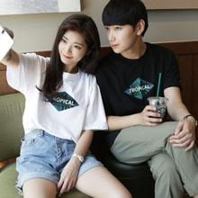 情侣装夏季韩版简约宽松显瘦短袖T恤女韩范半袖体恤上衣学生班服