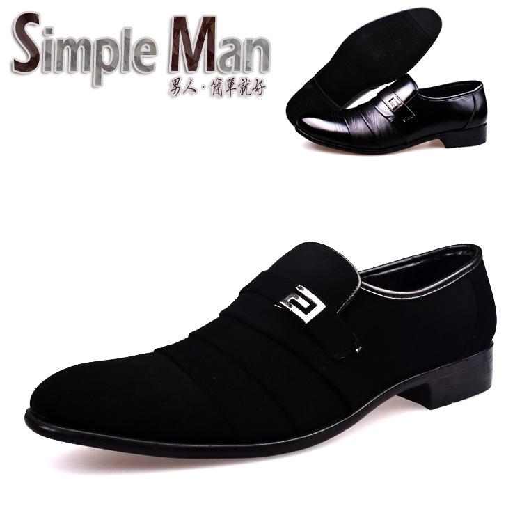 时尚男鞋 套脚 磨砂皮 尖头 增高鞋男式休闲单鞋子 特价 青春流行