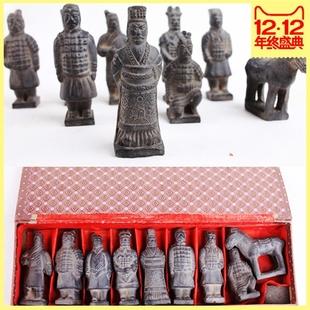 兵马俑仿古纪念品摆件8件套精装礼盒陕西地区特色工艺品特价
