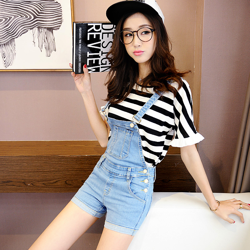 背带裤女夏2017新款韩版学生牛仔短裤学院风可爱显瘦吊带铅笔热裤