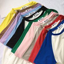 夏装女装韩版基础款撞色插肩袖bf风宽松短袖T恤情侣学生上衣班服