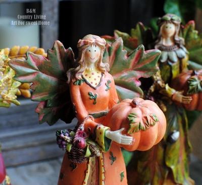 出口美国订单 美式乡村 超美秋天收获幸福天使摆件 装饰品