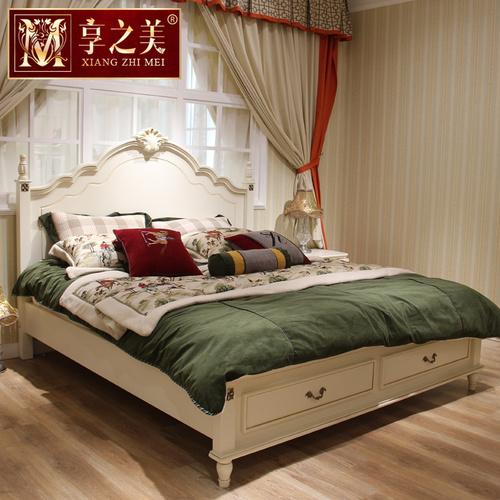 美式床实木床乡村田园公主床储物床1.8米欧式床双人床白色简欧床