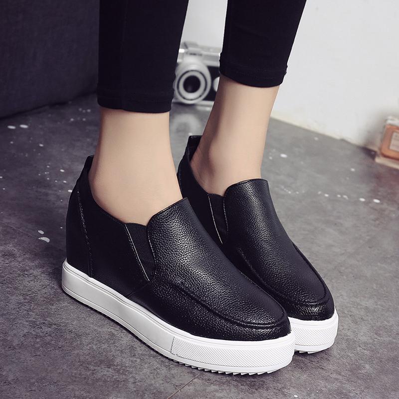 韩版内增高女乐福鞋学生一脚蹬厚底松糕休闲鞋坡跟短筒马丁靴