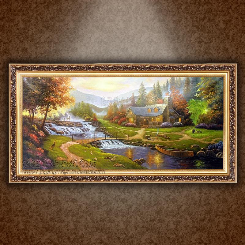 欧式高档纯手绘风景油画酒店客厅玄关油画餐厅挂画