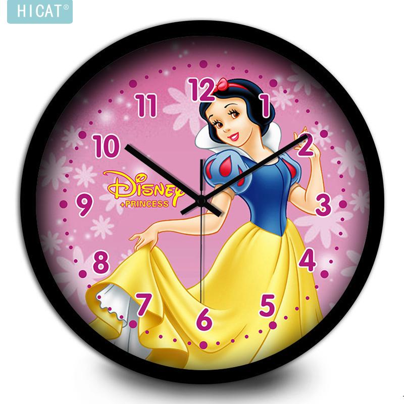 HICAT白雪公主艺术挂钟儿童房创意静音简约现代大钟表石英钟挂表