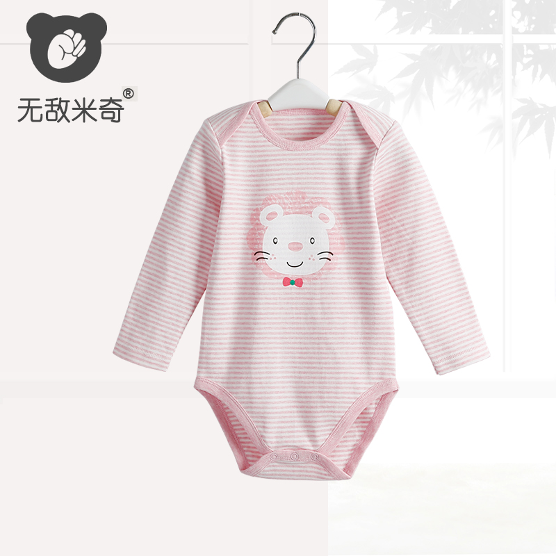 无敌米奇 婴儿衣服连体衣爬服春秋长袖三角哈衣男女宝宝包屁衣