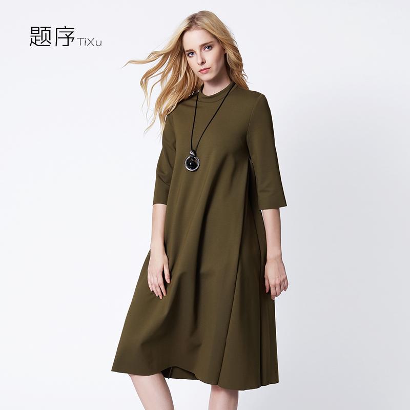题序2016新款女装秋冬季欧美a字裙大气七分袖宽松大码中长连衣裙